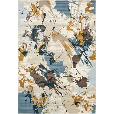 Brayden Beige/Blue Area Rug Rug Size: Rectangle 7 x 10