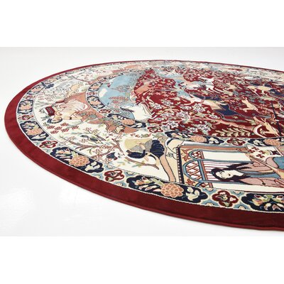 Amrane Burgundy/Tan Animal Print Area Rug Rug Size: Round 10