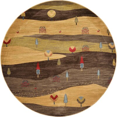 Jan Tan Abstract Area Rug Rug Size: Round 6