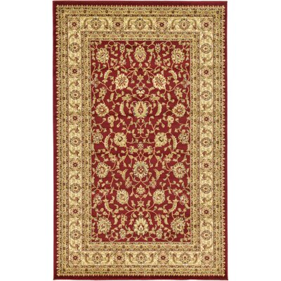 Niles Red/Cream Area Rug Rug Size: 5 x 8