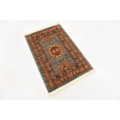 Valley Red/Light Blue Area Rug Rug Size: Rectangle 3 x 22