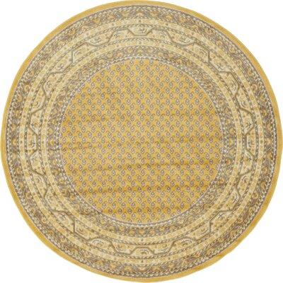 Gillam Yellow Area Rug Rug Size: Round 5 x 5