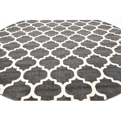 Moore Black Area Rug Rug Size: Round 10