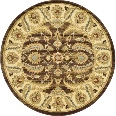 Fairmount Oriental Brown Area Rug Rug Size: Round 6