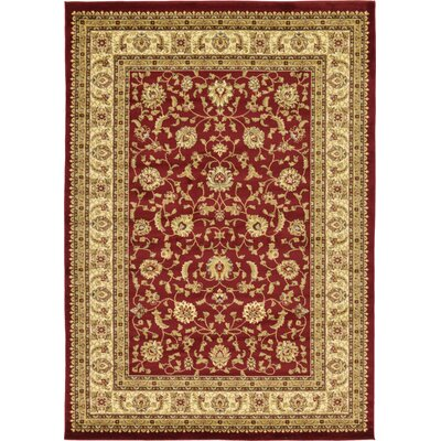 Niles Red/Cream Area Rug Rug Size: Rectangle 7 x 10