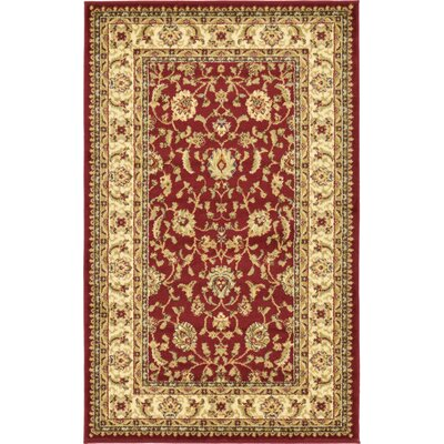 Niles Red/Cream Area Rug Rug Size: 33 x 53
