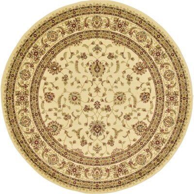 Niles Cream/Brown Area Rug Rug Size: Round 8