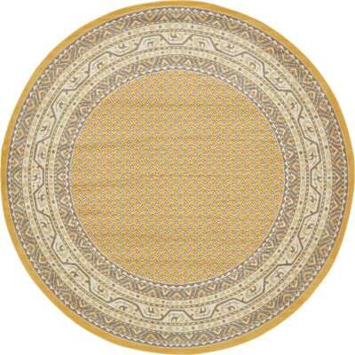 Gillam Yellow Area Rug Rug Size: Round 8 x 8