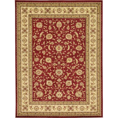 Fairmount Red/Cream Area Rug Rug Size: Rectangle 9 x 12