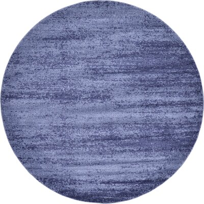 Barna Blue Area Rug Rug Size: Round 8