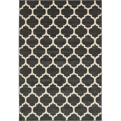Emjay Black Area Rug Rug Size: Rectangle 4 x 6