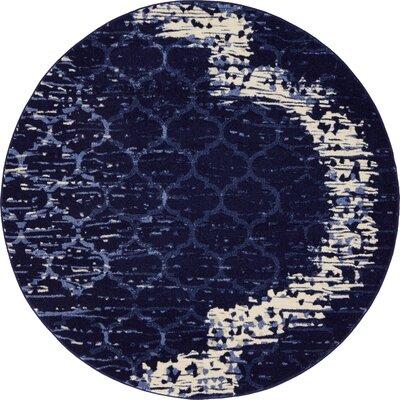 Steinbeck Navy Blue Area Rug Rug Size: Round 6