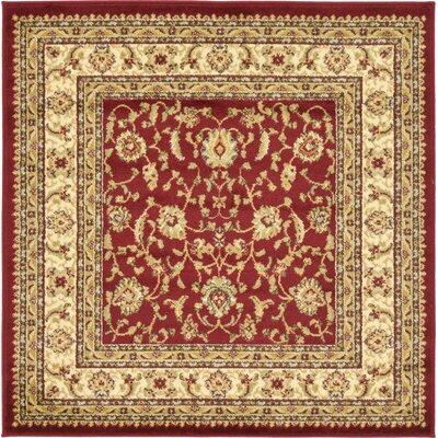 Niles Red/Cream Area Rug Rug Size: Square 4