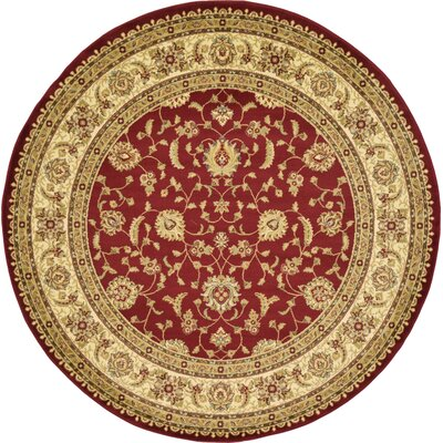 Niles Red/Cream Area Rug Rug Size: Round 8