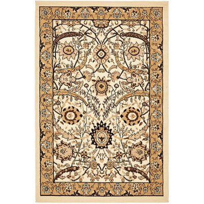 Antoinette Ivory Area Rug Rug Size: 4 x 6