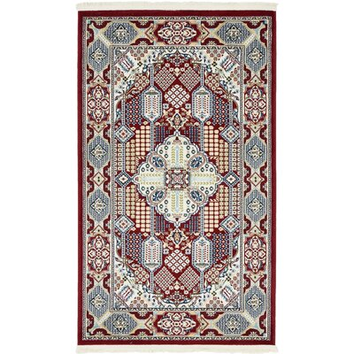 Jackson Burgundy Area Rug Rug Size: Rectangle 3 x 5