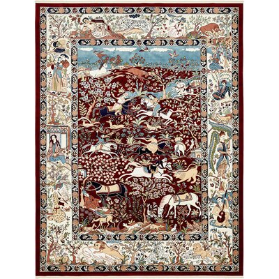 Amrane Burgundy/Tan Animal Print Area Rug Rug Size: Rectangle 13 x 198
