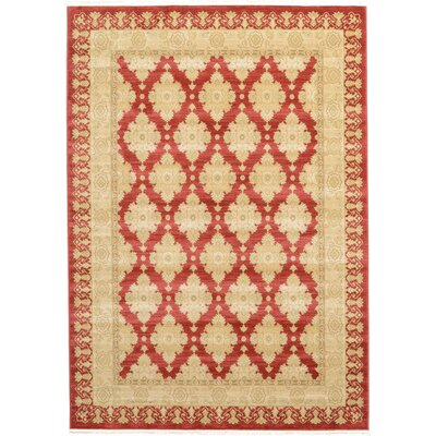 Fonciere Red/Beige Area Rug Rug Size: Rectangle 7 x 10