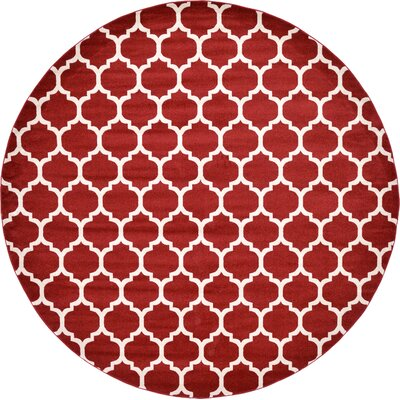 Moore Red Area Rug Rug Size: Round 122