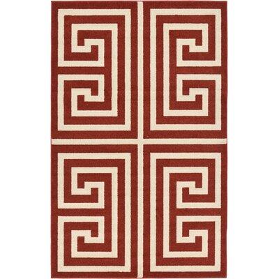 Cendrillon Geometric Terracotta Area Rug Rug Size: 5 x 8
