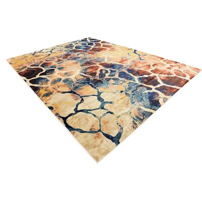 Jani Rectangle Beige/Blue Abstract Area Rug Rug Size: 9 x 12