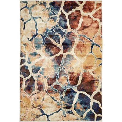 Jani Rectangle Beige/Blue Abstract Area Rug Rug Size: Rectangle 4 x 6