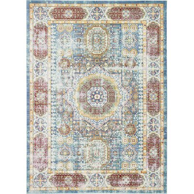 Laurelwood Blue / Red Area Rug Rug Size: Rectangle 7 x 10