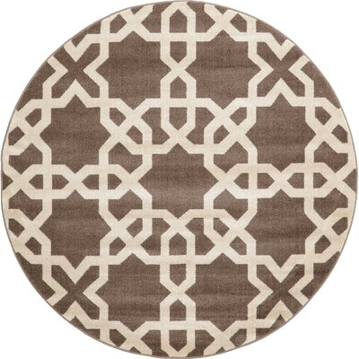 Molly Light Brown Area Rug Rug Size: Round 6