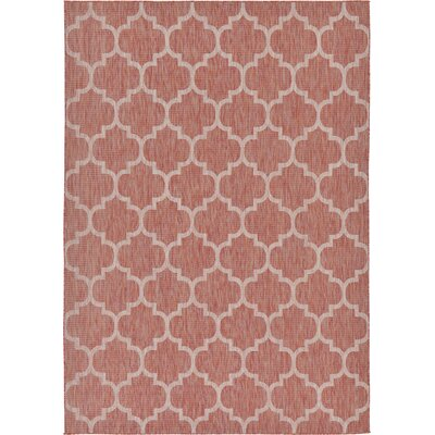 Tandridge Rust Outdoor Red Area Rug Rug Size: Rectangle 5 x 8