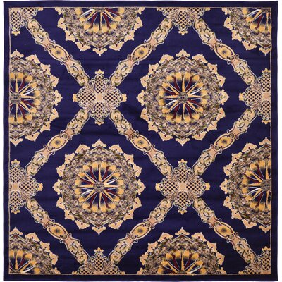 Marmont Navy Blue Area Rug Rug Size: Square 8