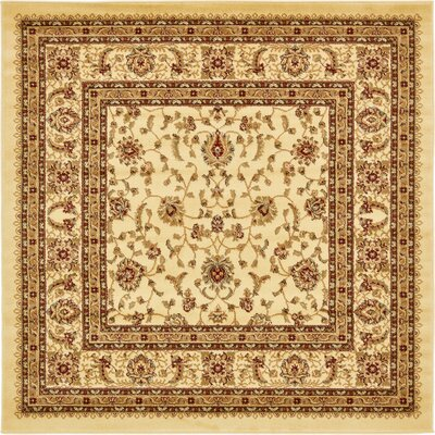 Niles Cream/Brown Area Rug Rug Size: Square 6