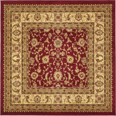 Niles Red/Cream Area Rug Rug Size: Square 6