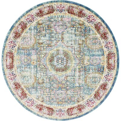 Laurelwood Blue / Red Area Rug Rug Size: Round 6