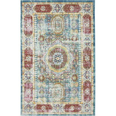 Laurelwood Blue / Red Area Rug Rug Size: 5 x 8