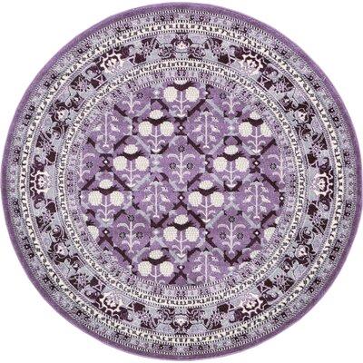 Irma Purple Area Rug Rug Size: Round 6