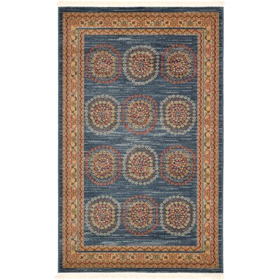 Virginia Blue/Brown Area Rug Rug Size: Rectangle 32 x 52