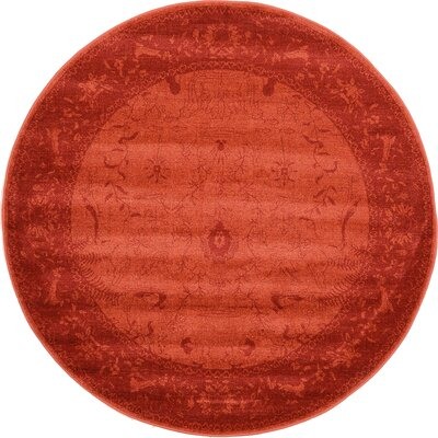 Aledo Rust Red Area Rug Rug Size: Round 6