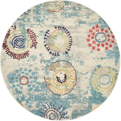 Aquarius Blue Area Rug Rug Size: Round 6