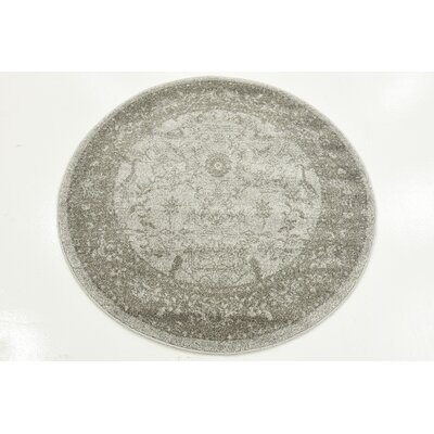 Imperial Gray & Green Area Rug Rug Size: Round 3