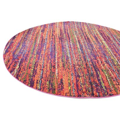 Lilian Red Area Rug Rug Size: Round 6