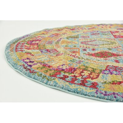 Phillips Light Blue Area Rug Rug Size: Round 8