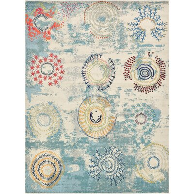 Aquarius Blue Area Rug Rug Size: 9 x 12