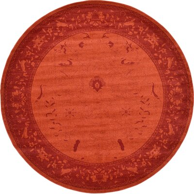 Shailene Rust Red Area Rug Rug Size: Round 122
