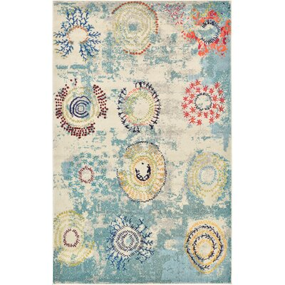 Aquarius Blue Area Rug Rug Size: 5 x 8