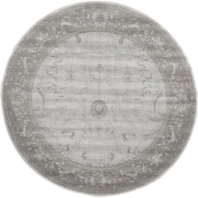 Imperial Gray & Green Area Rug Rug Size: Round 6