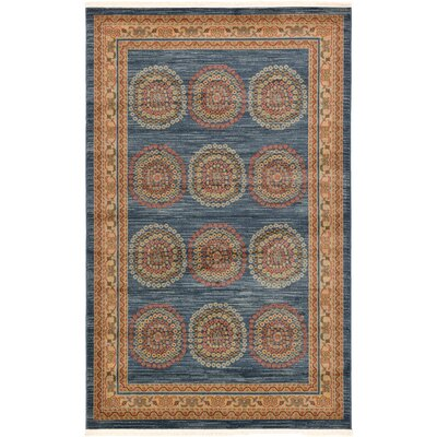 Virginia Blue/Brown Area Rug Rug Size: 5 x 8