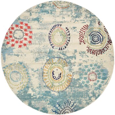 Killington Blue Area Rug Rug Size: Round 8