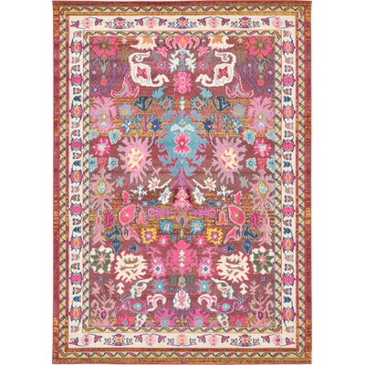 Iris Pink Area Rug Rug Size: Rectangle 7 x 10