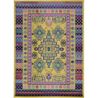 Iris Gold Area Rug Rug Size: 7 x 10