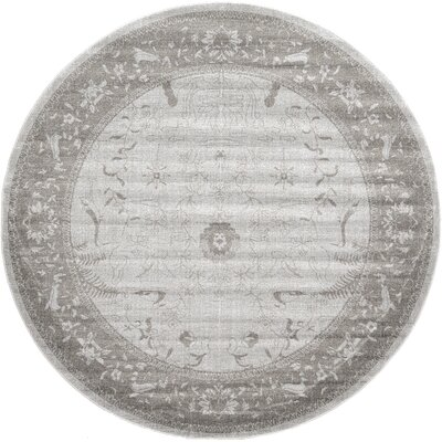 Imperial Gray & Green Area Rug Rug Size: Round 8